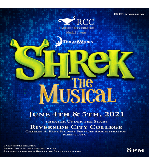 Blue Background with green writing displaying Shrek the Musical June 4th and 5th, 2021