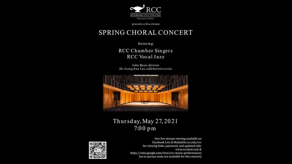 Black background with stage in the middle. Details about the Spring Choral Concert